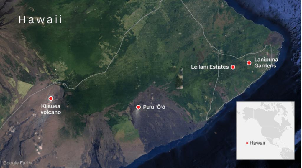 Mapa de Hawaii con los lugares afectados por la erupción del volcán Kilauea