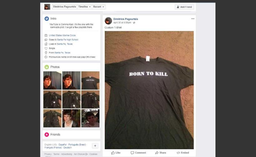Imagen de la cuenta de Facebook de Dimitrios Pagourtzis, presunto atacante en el tiroteo de Texas el 18 de mayo.