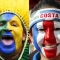 (EDITORS NOTE: The composite has been made with the following images 451858500,1613457,81490634,71176173) This composite image shows a fan of each of the 4 national teams Brazil,Switzerland,Costa Rica, Serbia taking part in Group E of the 2018 World Cup starting on June 14, 2018 in Russia. (Photo by Getty Images)