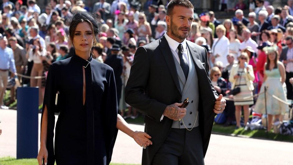 Victoria Beckham y David Beckham en una imagen a su llegada a Windsor. (Crédito: Chris Radburn - WPA Pool/Getty Images)