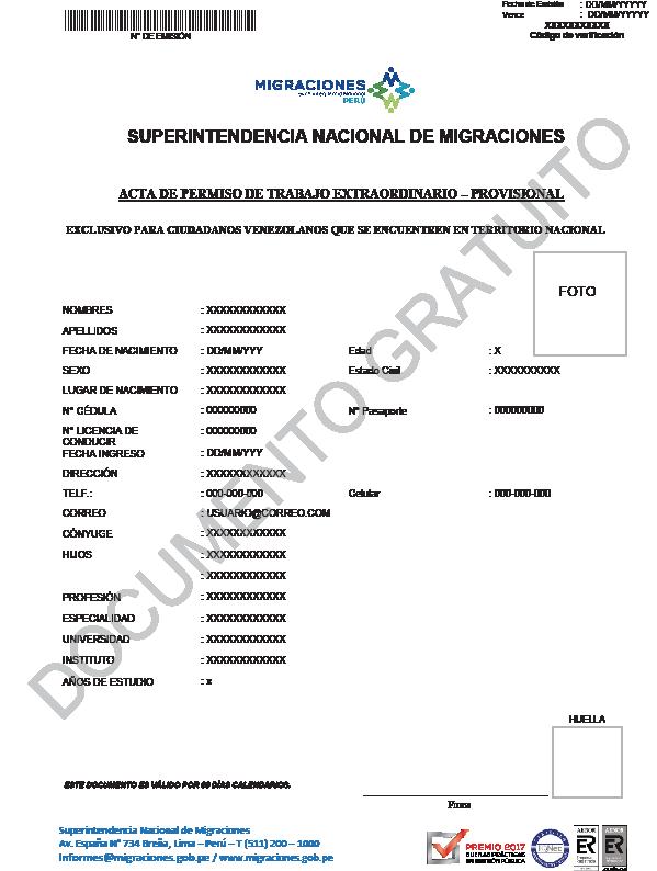 Modelo de documento que los venezolanos deberán rellenar para obtener el permiso de trabajo extraordinario, gratuito y temporal del gobierno de Perú. (Crédito: El Peruano)