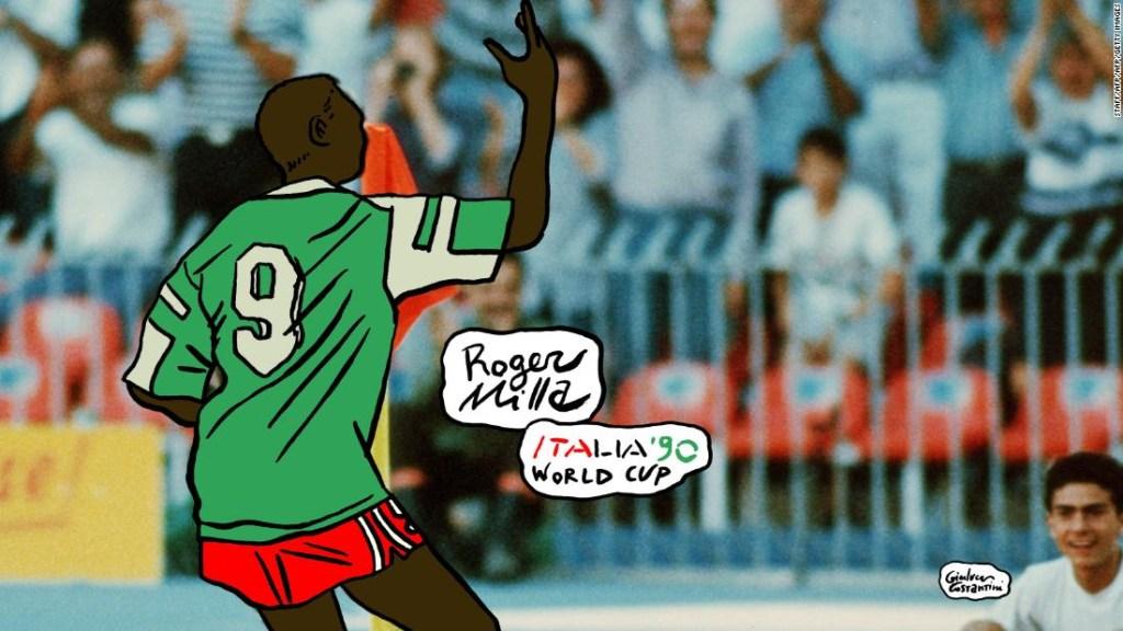 Celebración de Roger Milla en el Mundial de Italia 1990