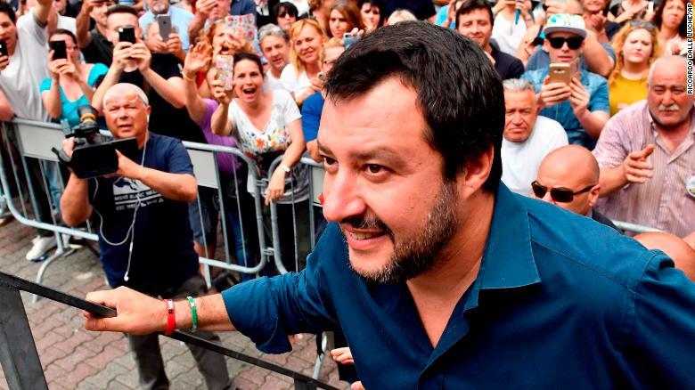 El líder de la Liga, Matteo Salvini, durante la campaña de las elecciones italianas. (Crédito: Riccardo Dalle Luche/ANSA via AP)