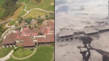Estas fotos aéreas muestran el Hotel La Reunion antes, a la izquierda y después de la erupción volcánica mortal del domingo.