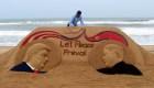 Impresionante escultura de arena de Donald Trump y Kim Jong Un