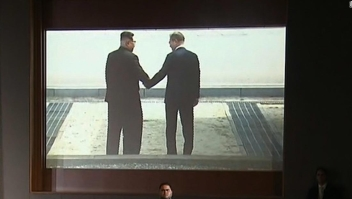 Imagen del video mostrado a Kim Jong Un por Trump durante la cumbre en Singapur.