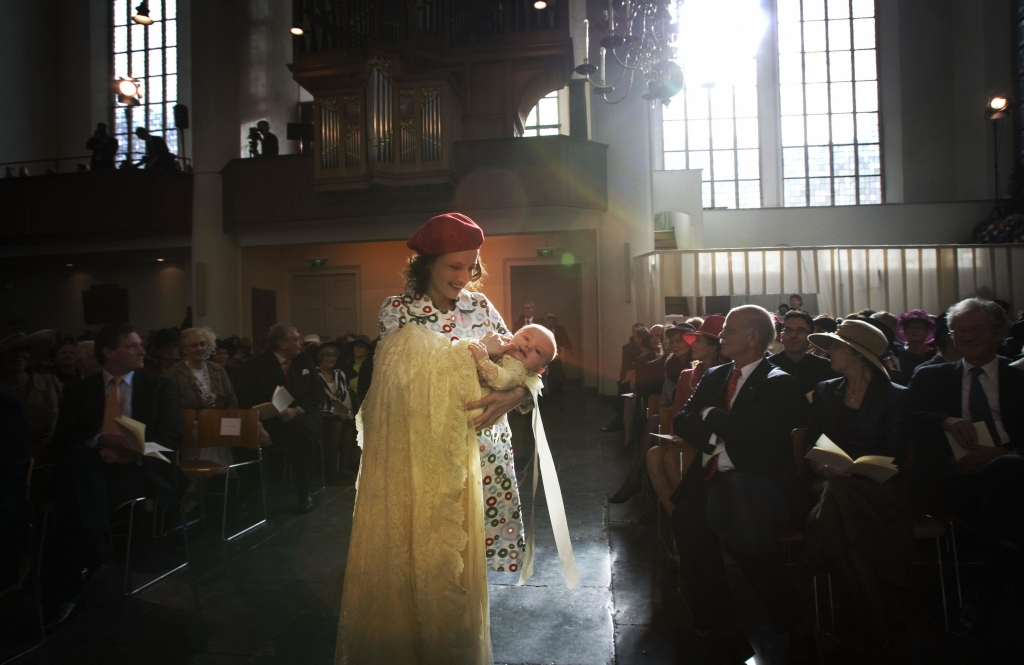 Dutch Princess Ariane is carried by the sister of Princess Maxima to her baptism ceremony in the Kloosterkerk in The Hague 20 October 2007. AFP PHOTO / ROYAL IMAGES / POOL / ROBIN UTRECHT (Photo credit should read ROBIN UTRECHT/AFP/Getty Images)
