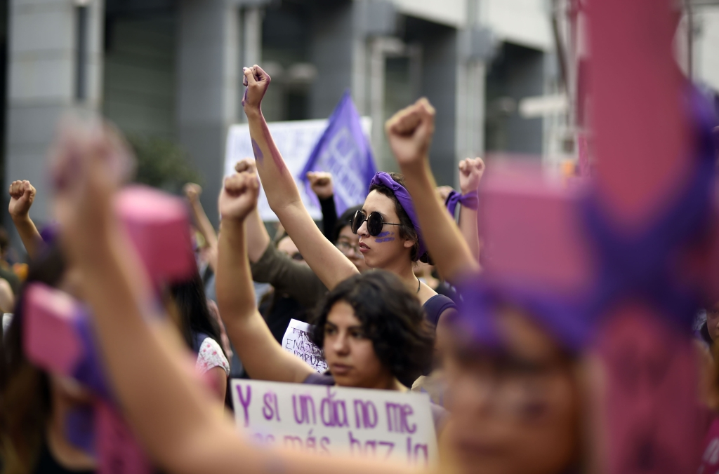 Manifestación por el Día de la Mujer, el 8 de marzo de 2018, en Ciudad de México. (Crédito: ALFREDO ESTRELLA/AFP/Getty Images)