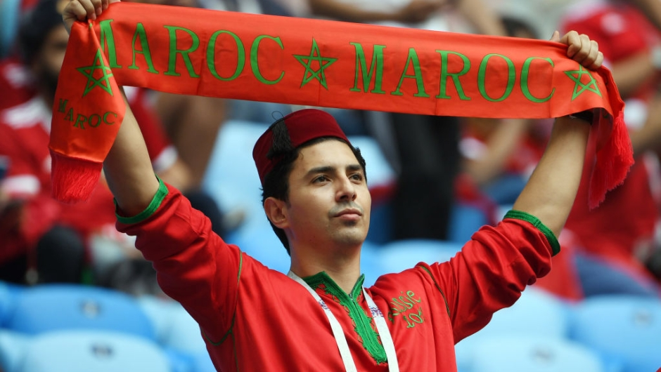 A Morocco fan cheers before the start of the Russia 2018 World Cup Group B football match between Morocco and Iran at the Saint Petersburg Stadium in Saint Petersburg on June 15, 2018. (Photo by Paul ELLIS / AFP) / RESTRICTED TO EDITORIAL USE - NO MOBILE PUSH ALERTS/DOWNLOADS (Photo credit should read PAUL ELLIS/AFP/Getty Images)