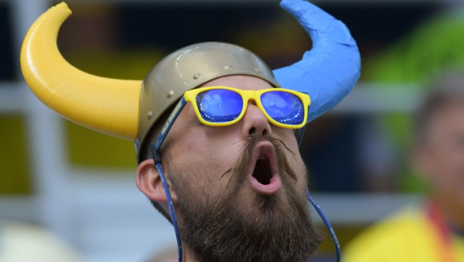 A Sweden supporter reacts ahead of the Russia 2018 World Cup Group F football match between Sweden and South Korea at the Nizhny Novgorod Stadium in Nizhny Novgorod on June 18, 2018. (Photo by Martin BERNETTI / AFP) / RESTRICTED TO EDITORIAL USE - NO MOBILE PUSH ALERTS/DOWNLOADS (Photo credit should read MARTIN BERNETTI/AFP/Getty Images)