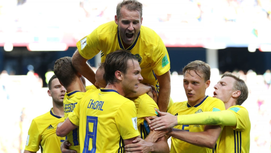 NIZHNIY NOVGOROD, RUSSIA - JUNE 18: Andreas Granqvist of Sweden celebrates with teammates after scoring his team's first goal during the 2018 FIFA World Cup Russia group F match between Sweden and Korea Republic at Nizhniy Novgorod Stadium on June 18, 2018 in Nizhniy Novgorod, Russia. (Photo by Clive Brunskill/Getty Images)