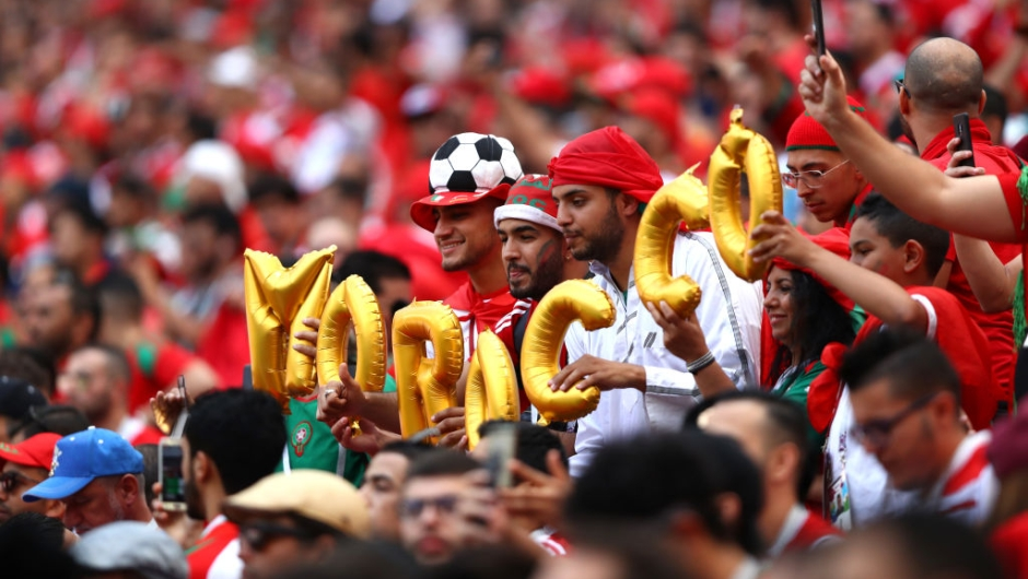 MOSCOW, RUSSIA - JUNE 20: Morocco fans enjoy the pre match atmosphere prior to the 2018 FIFA World Cup Russia group B match between Portugal and Morocco at Luzhniki Stadium on June 20, 2018 in Moscow, Russia. (Photo by Dean Mouhtaropoulos/Getty Images)