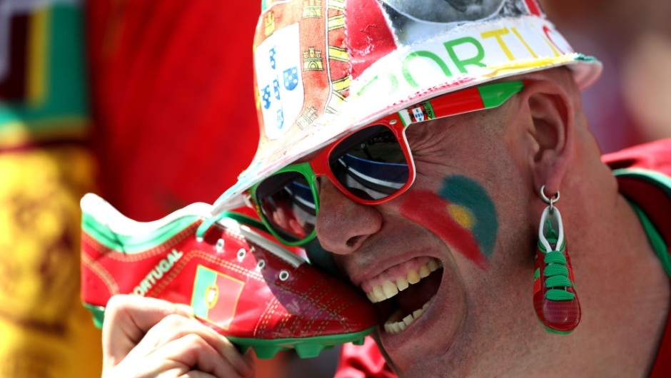 MOSCOW, RUSSIA - JUNE 20: A Portugal fan enjoys the pre match atmosphere prior to the 2018 FIFA World Cup Russia group B match between Portugal and Morocco at Luzhniki Stadium on June 20, 2018 in Moscow, Russia. (Photo by Michael Steele/Getty Images)