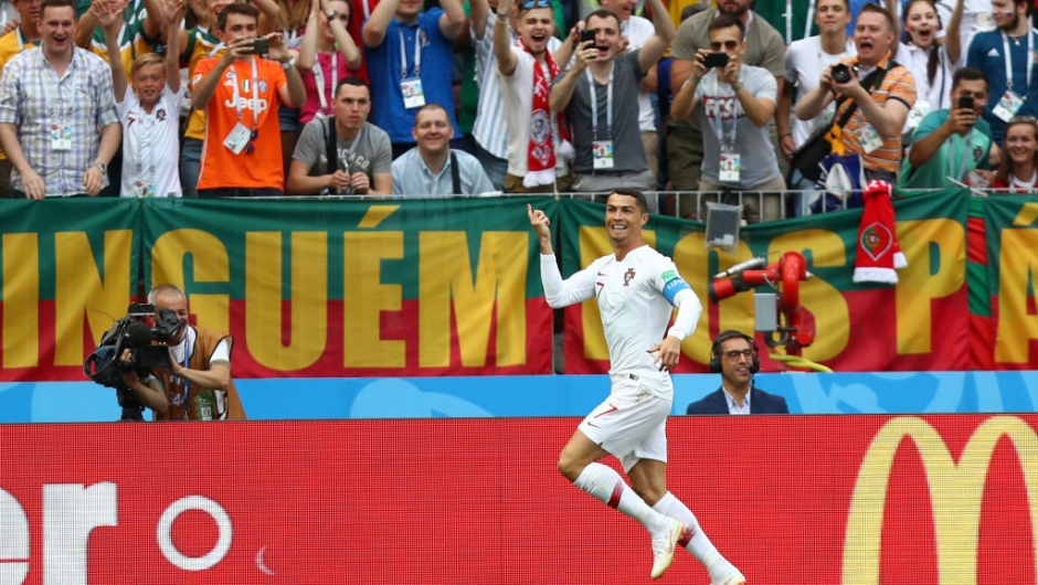 MOSCOW, RUSSIA - JUNE 20: Cristiano Ronaldo of Portugal celebrates after scoring his team's first goal during the 2018 FIFA World Cup Russia group B match between Portugal and Morocco at Luzhniki Stadium on June 20, 2018 in Moscow, Russia. (Photo by Dean Mouhtaropoulos/Getty Images)