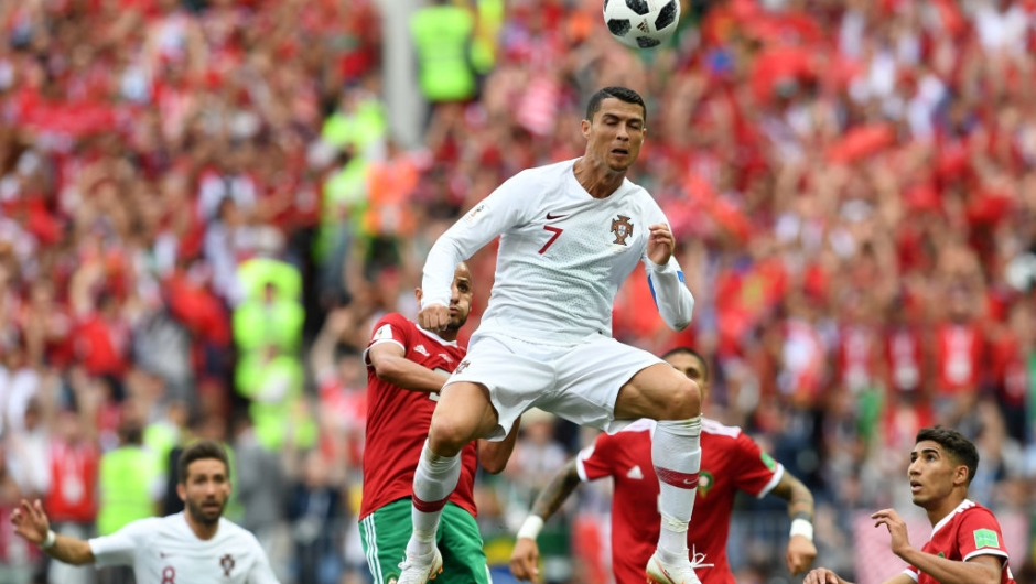 ortugal's forward Cristiano Ronaldo heads the ball during the Russia 2018 World Cup Group B football match between Portugal and Morocco at the Luzhniki Stadium in Moscow on June 20, 2018. (Photo by Francisco LEONG / AFP) / RESTRICTED TO EDITORIAL USE - NO MOBILE PUSH ALERTS/DOWNLOADS (Photo credit should read FRANCISCO LEONG/AFP/Getty Images)