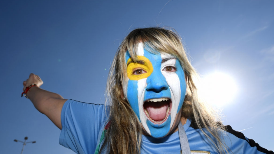 ROSTOV-ON-DON, RUSSIA - JUNE 20: A Uruguay fan enjoys the pre match atmosphere prior to the 2018 FIFA World Cup Russia group A match between Uruguay and Saudi Arabia at Rostov Arena on June 20, 2018 in Rostov-on-Don, Russia. (Photo by Matthias Hangst/Getty Images)