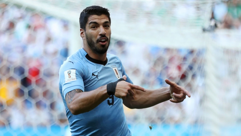 ROSTOV-ON-DON, RUSSIA - JUNE 20: Luis Suarez of Uruguay celebrates after scoring his team's first goal during the 2018 FIFA World Cup Russia group A match between Uruguay and Saudi Arabia at Rostov Arena on June 20, 2018 in Rostov-on-Don, Russia. (Photo by Ryan Pierse/Getty Images)