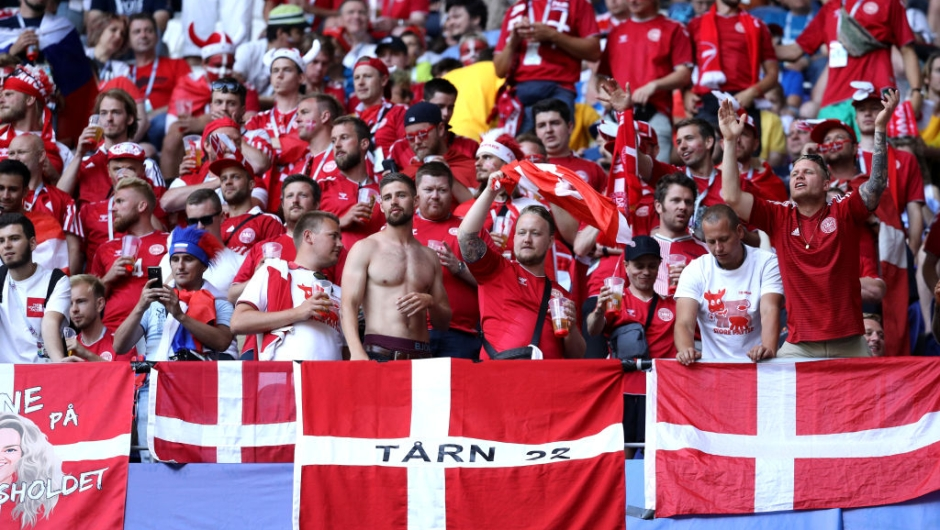 SAMARA, RUSSIA - JUNE 21: Denmark fans enjoy the pre match atmosphere prior to the 2018 FIFA World Cup Russia group C match between Denmark and Australia at Samara Arena on June 21, 2018 in Samara, Russia. (Photo by Maddie Meyer/Getty Images)