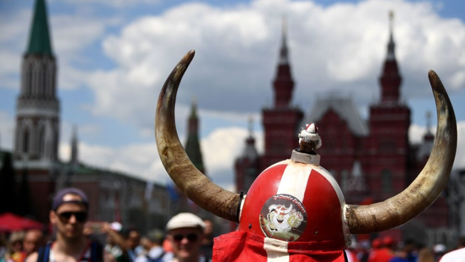 Denmark suporters gather in front of Saint Basil's Cathedral in Red Square in Moscow on June 26, 2018, during the Russia 2018 World Cup football tournament. (Photo by FRANCK FIFE / AFP) (Photo credit should read FRANCK FIFE/AFP/Getty Images)