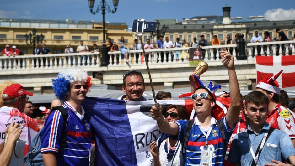 France supporters gather in Moscow on June 9, 2018, during the Russia 2018 World Cup football tournament. (Photo by FRANCK FIFE / AFP) (Photo credit should read FRANCK FIFE/AFP/Getty Images)