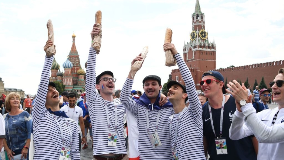 France supporters gather in front of Saint Basil's Cathedral in Red Square in Moscow on June 26, 2018, during the Russia 2018 World Cup football tournament. (Photo by FRANCK FIFE / AFP) (Photo credit should read FRANCK FIFE/AFP/Getty Images)
