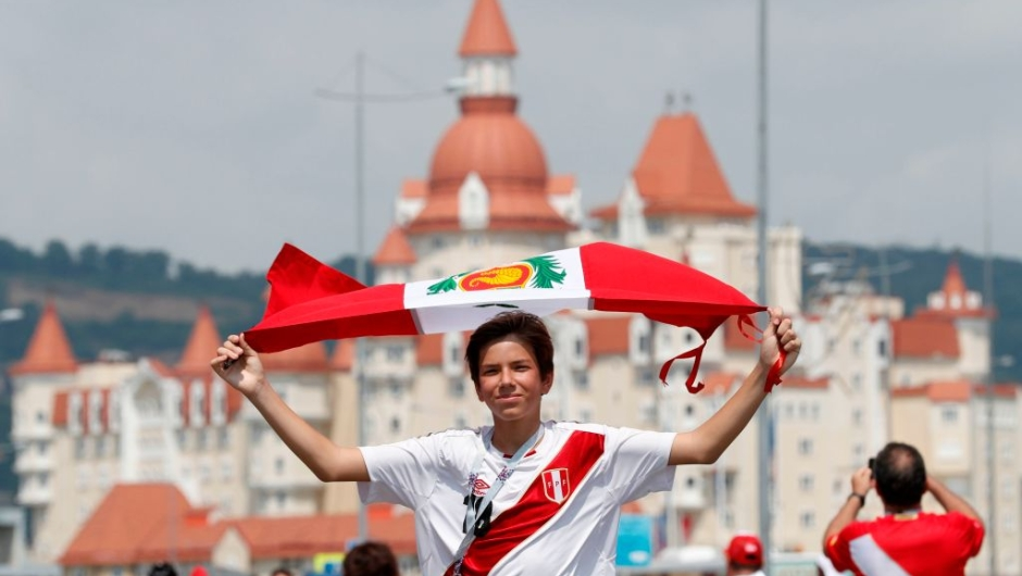 A Peru fan poses outside the stadium ahead of the Russia 2018 World Cup Group C football match between Australia and Peru at the Fisht Stadium in Sochi on June 26, 2018. (Photo by Adrian DENNIS / AFP) / RESTRICTED TO EDITORIAL USE - NO MOBILE PUSH ALERTS/DOWNLOADS (Photo credit should read ADRIAN DENNIS/AFP/Getty Images)