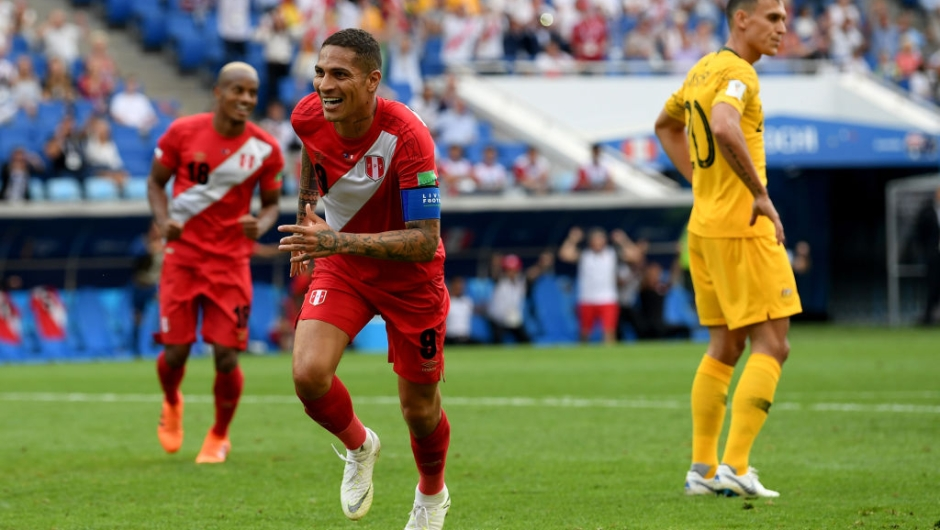 OCHI, RUSSIA - JUNE 26: Paolo Guerrero of Peru celebrates after scoring his team's second goal during the 2018 FIFA World Cup Russia group C match between Australia and Peru at Fisht Stadium on June 26, 2018 in Sochi, Russia. (Photo by Stu Forster/Getty Images)