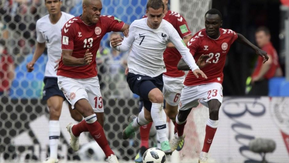 Imagen del partido entre Francia y Dinamarca, que quedó con empate a 0.