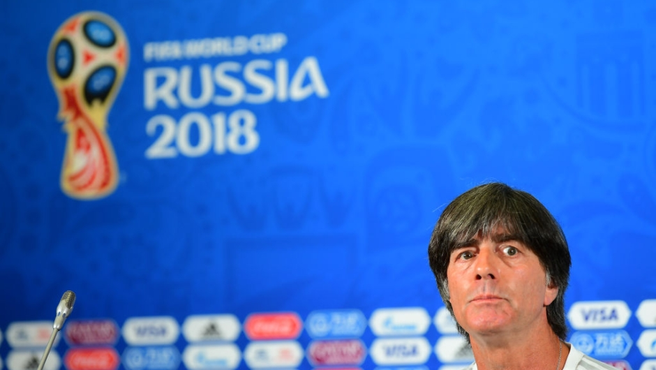 Germany's coach Joachim Loew gives a press conference on June 26, 2018 at the Kazan Arena during the Russia 2018 World Cup football tournament. (Photo by Luis Acosta / AFP) (Photo credit should read LUIS ACOSTA/AFP/Getty Images)