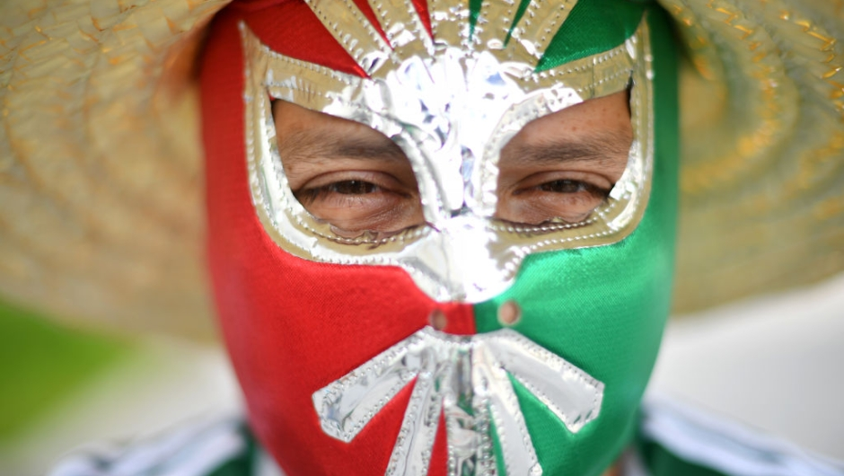 YEKATERINBURG, RUSSIA - JUNE 27: A Mexico fan enjoys the pre match atmosphere prior to the 2018 FIFA World Cup Russia group F match between Mexico and Sweden at Ekaterinburg Arena on June 27, 2018 in Yekaterinburg, Russia. (Photo by Hector Vivas/Getty Images)