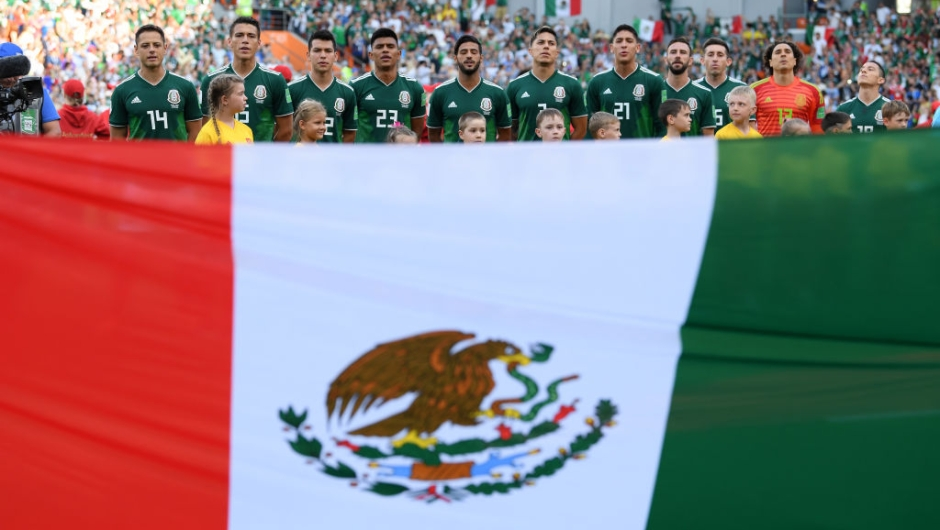 EKATERINBURG, RUSSIA - JUNE 27: Mexico line up prior to the 2018 FIFA World Cup Russia group F match between Mexico and Sweden at Ekaterinburg Arena on June 27, 2018 in Yekaterinburg, Russia. (Photo by Matthias Hangst/Getty Images)