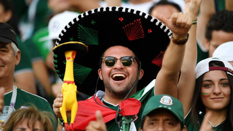 YEKATERINBURG, RUSSIA - JUNE 27: A Mexico fan enjoys the pre match atmosphere prior to the 2018 FIFA World Cup Russia group F match between Mexico and Sweden at Ekaterinburg Arena on June 27, 2018 in Yekaterinburg, Russia. (Photo by Matthias Hangst/Getty Images)
