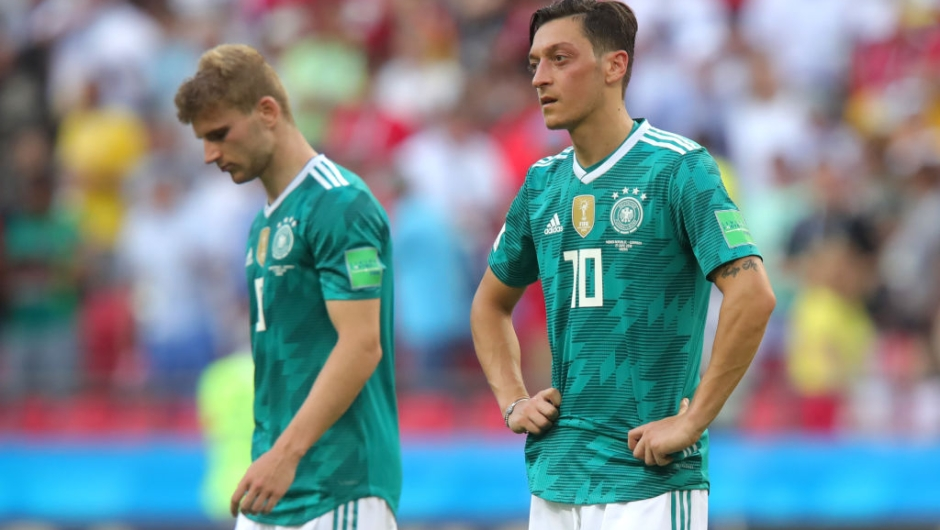 KAZAN, RUSSIA - JUNE 27: Mesut Oezil of Germany looks dejected following his sides defeat in the 2018 FIFA World Cup Russia group F match between Korea Republic and Germany at Kazan Arena on June 27, 2018 in Kazan, Russia. (Photo by Alexander Hassenstein/Getty Images, )