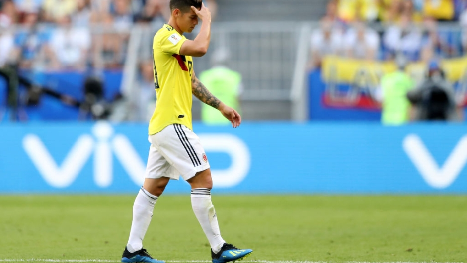 SAMARA, RUSSIA - JUNE 28: James Rodriguez of Colombia looks dejected as he is substituted off due to injury during the 2018 FIFA World Cup Russia group H match between Senegal and Colombia at Samara Arena on June 28, 2018 in Samara, Russia. (Photo by Michael Steele/Getty Images)