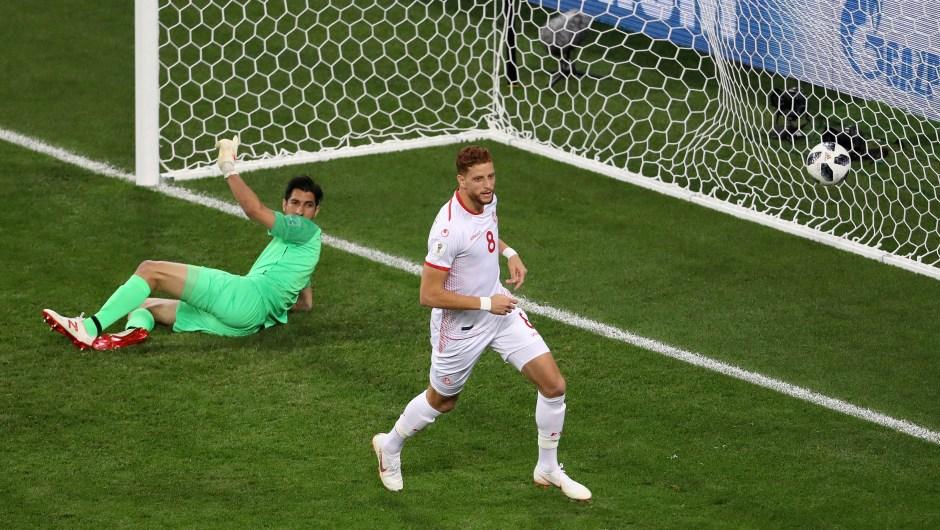 Fakhreddine Ben Youssef de Túnez celebra su gol frente a Panamá. (Crédito: Kevin C. Cox/Getty Images)