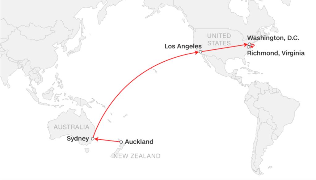 La ruta del viaje de Troy George Skinner hasta llegar a Richmond.