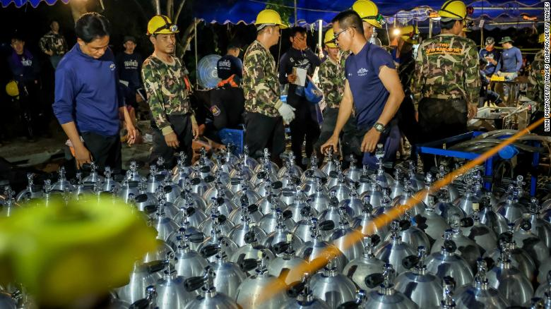 CHIANG RAI, THAILAND - JULY 01: Scuba tanks are delivered to the site for Thai navy & SEAL on July 01, 2018 in Chiang Rai, Thailand. Rescuers in northern Thailand looked for alternative ways into a flooded cave as they continued the search for 12 boys and their soccer coach who have been missing in Tham Luang Nang Non cave since Saturday night after monsoon rains blocked the main entrance. U.S. Forces and British divers joined the search as they worked their way through submerged passageways in the sprawling underground caverns as the search intensifies for the young soccer team, aged between 11 to 16, and their their 25-year-old coach. (Photo by Linh Pham/Getty Images)