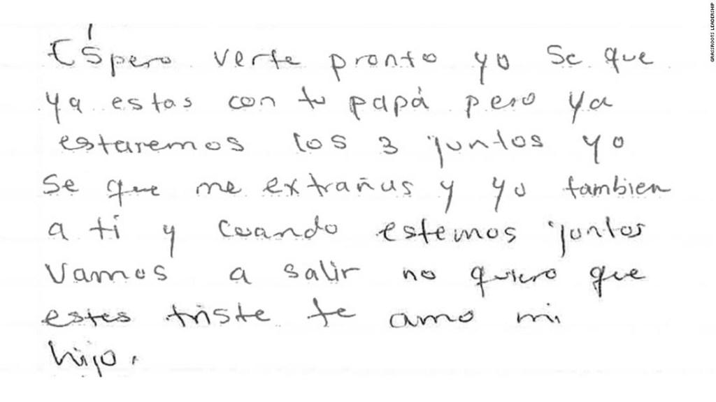 Carta de una mujer a su hijo desde un centro de inmigración