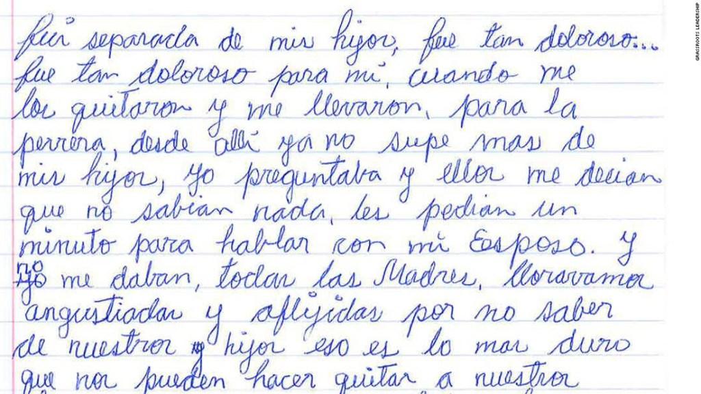Carta madre inmigrante en centro de detención