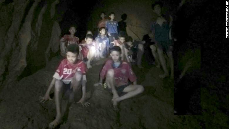 180703) -- CHIANG RAI (THAILAND), July 3, 2018 (Xinhua) -- Photo provided by Thai Navy Seal shows trapped teenagers in a cave in Mae Sai, Chiang Rai province, northern Thailand, on July 2, 2018. Twelve teenagers and their football coach, trapped in a cave in northern Thailand for nine days, have been found alive on Monday night, Narongsak Osottanakorn, governor of Chiang Rai province said. (Xinhua) (Photo by Xinhua/Sipa USA)