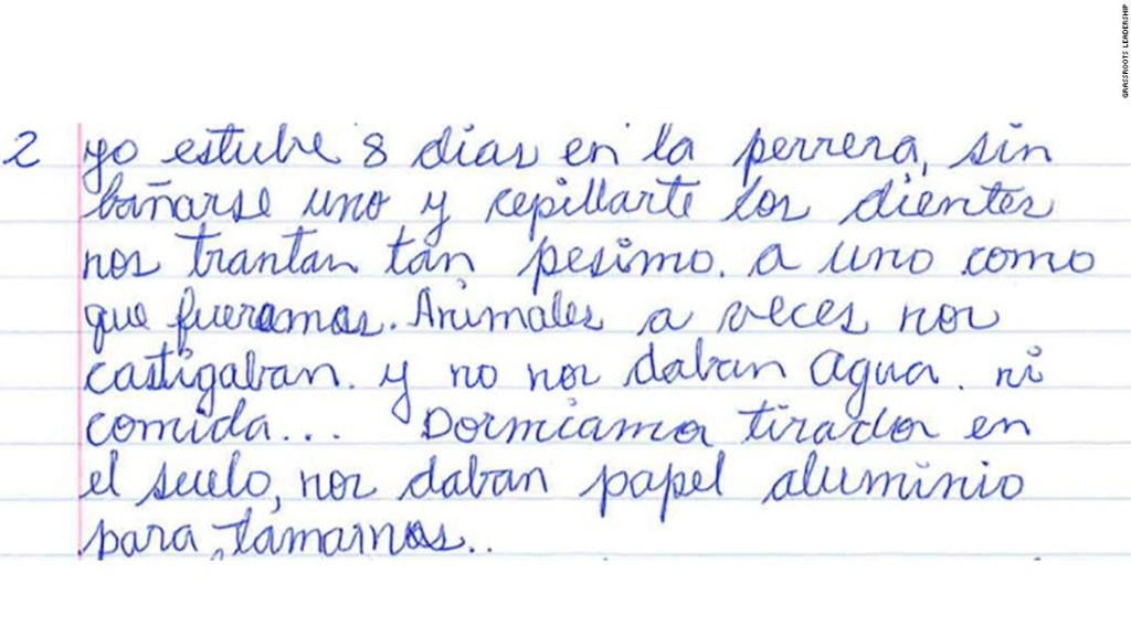 Carta de una inmigrante desde un centro de detención.