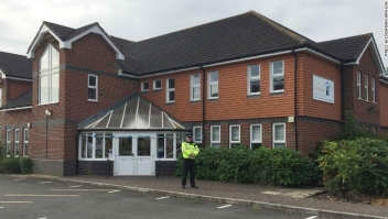 7/4/2018 - A police officer stands outside Amesbury Baptist Church in Amesbury, Wiltshire, where a major incident has been declared after it was suspected that two people might have been exposed to an unknown substance. (Photo by PA Images/Sipa USA) *** US Rights Only ***
