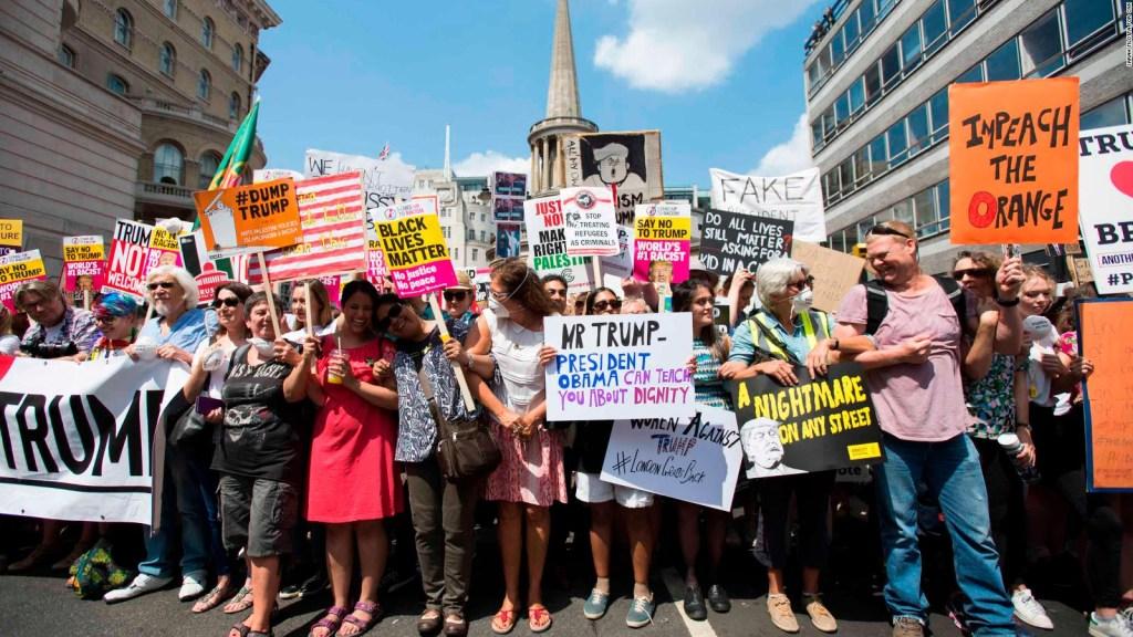 Protestas en Londres contra la visita de Trump