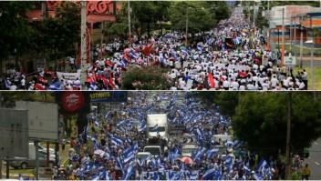Marchan en Nicaragua en contra y a favor de Daniel Ortega