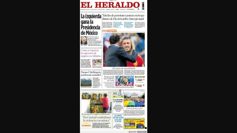 Portada en papel del diario El Heraldo, de Colombia.