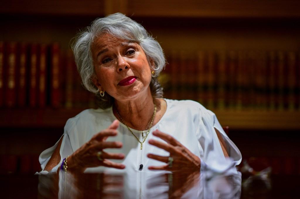 Olga Sánchez durante una entrevista en Ciudad de México en junio de 2018. (Crédito: RONALDO SCHEMIDT/AFP/Getty Images)