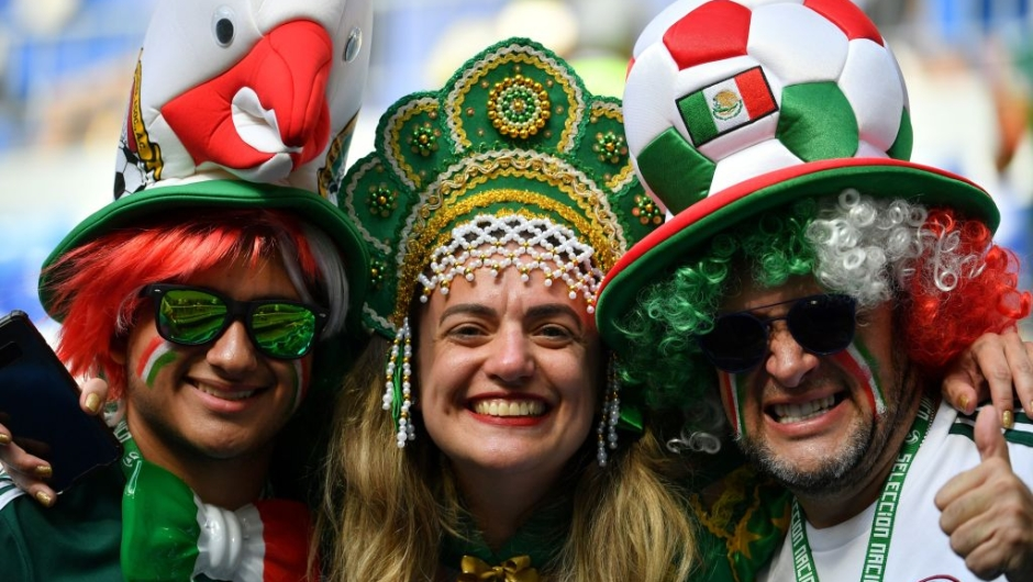 Mexico fans pose before the Russia 2018 World Cup round of 16 football match between Brazil and Mexico at the Samara Arena in Samara on July 2, 2018. (Photo by EMMANUEL DUNAND / AFP) / RESTRICTED TO EDITORIAL USE - NO MOBILE PUSH ALERTS/DOWNLOADS (Photo credit should read EMMANUEL DUNAND/AFP/Getty Images)