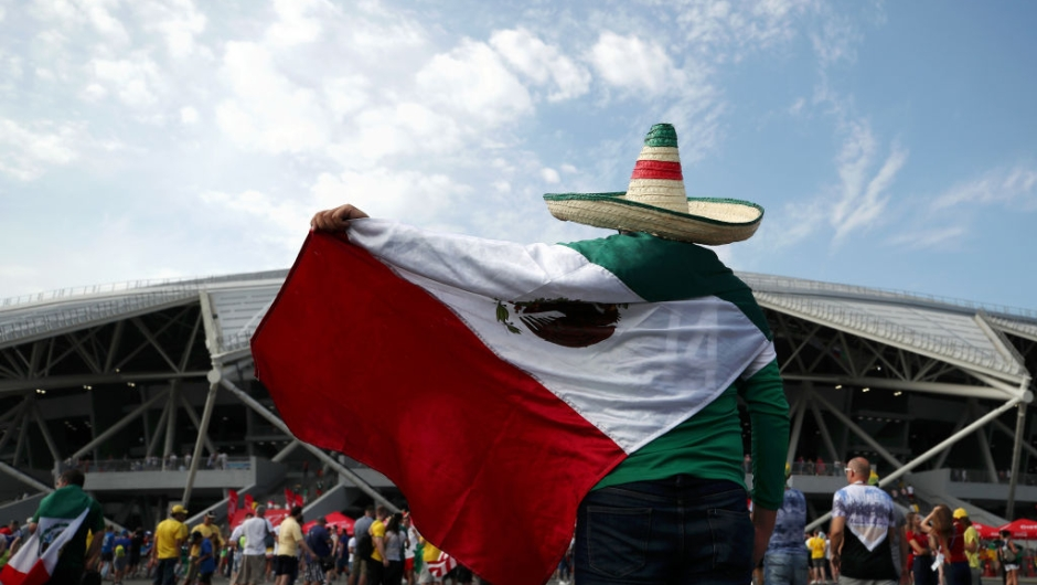 SAMARA, RUSSIA - JULY 02: Mexico fans enjoy the pre match atmosphere prior to the 2018 FIFA World Cup Russia Round of 16 match between Brazil and Mexico at Samara Arena on July 2, 2018 in Samara, Russia. (Photo by Ryan Pierse/Getty Images)