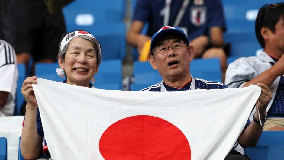 Fanáticos de Japón en la previa del partido ante Bélgica. (Crédito: Catherine Ivill/Getty Images)