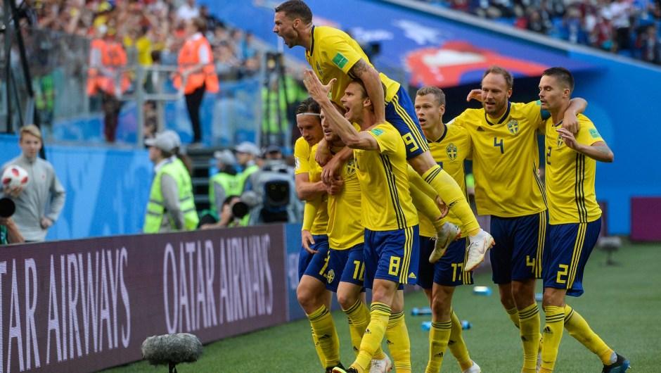 Suecia ganó por un gol a Suiza y se enfrentará en cuartos de final con quien gane del partido entre Colombia e Inglaterra. (Crédito: OLGA MALTSEVA/AFP/Getty Images)